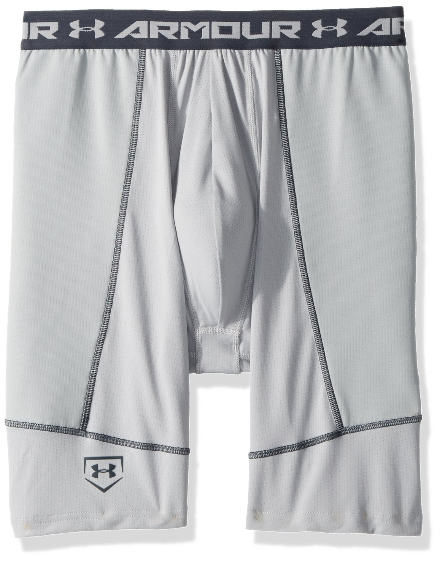 Under Armour Boys' Baseball Slider w/ Cup, Baseball Gray (075)/Stealth Gray, Youth X-Small