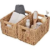 """GRANNY SAYS Hand-Woven Storage Baskets with Cut-Out Handles, Water Hyacinth Wicker Baskets for Organizing, Rectangle Decorative Baskets, Large, 13"""" x 8.3"""" x 7.1"""", Set of 2"""
