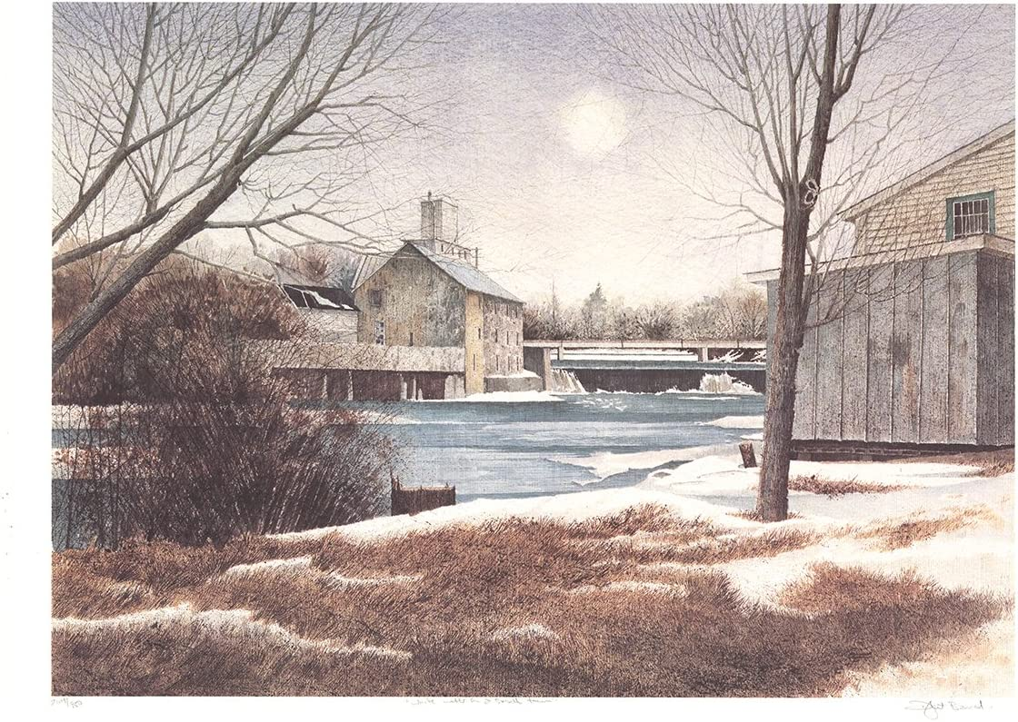 """DWIGHT BAIRD The Mill in Winter SIGNED 20/"""" x 25/"""" Offset Lithograph 1988"""