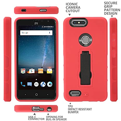 Amazon.com: ZTE Blade Z Max Case, ZTE Sequoia Z982 Case, Heavy Duty Rugged Hard Cover with Hybrid Dual Layer Shock-Absorption Protection with Kickstand Case ...