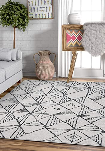 Well Woven Liana Grey White Ultra Soft Microfiber Tribal Trellis 8×11 7 10 x 9 10 Area Rug Modern Geometric Vintage Diamond Lattice Carpet