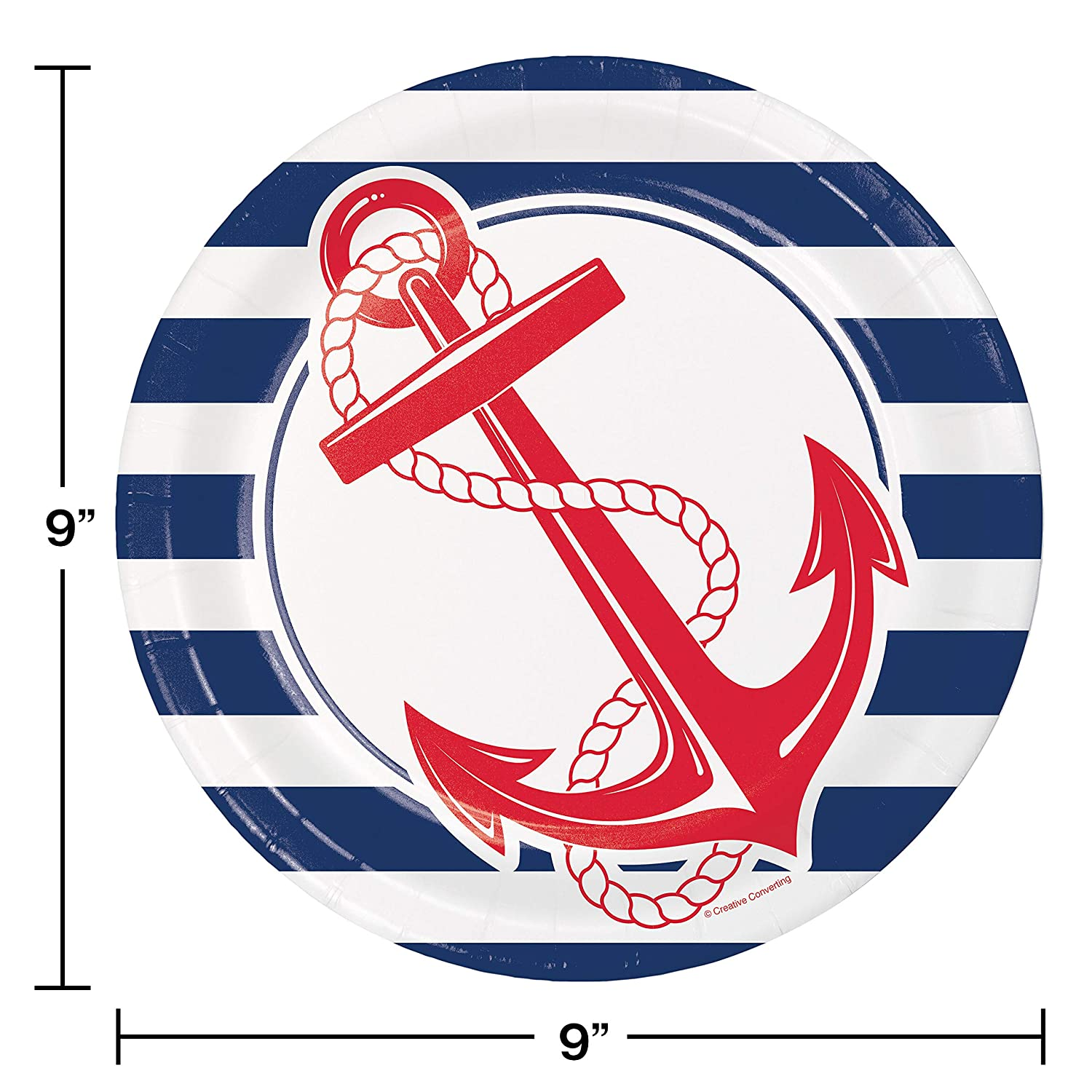 24 ct Nautical Anchor Paper Plates