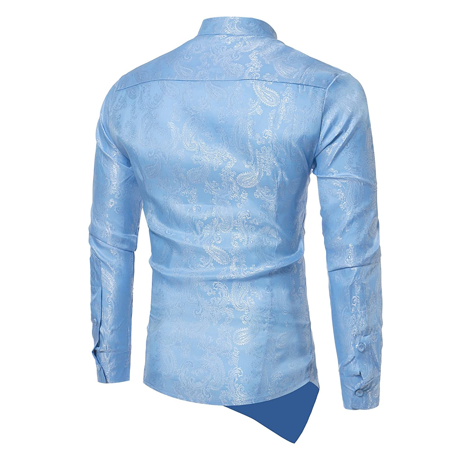 YUNY Mens Hipster Casual Slim Long Sleeve Button Down Dress Shirts Tops with Embroidery Light Blue XS