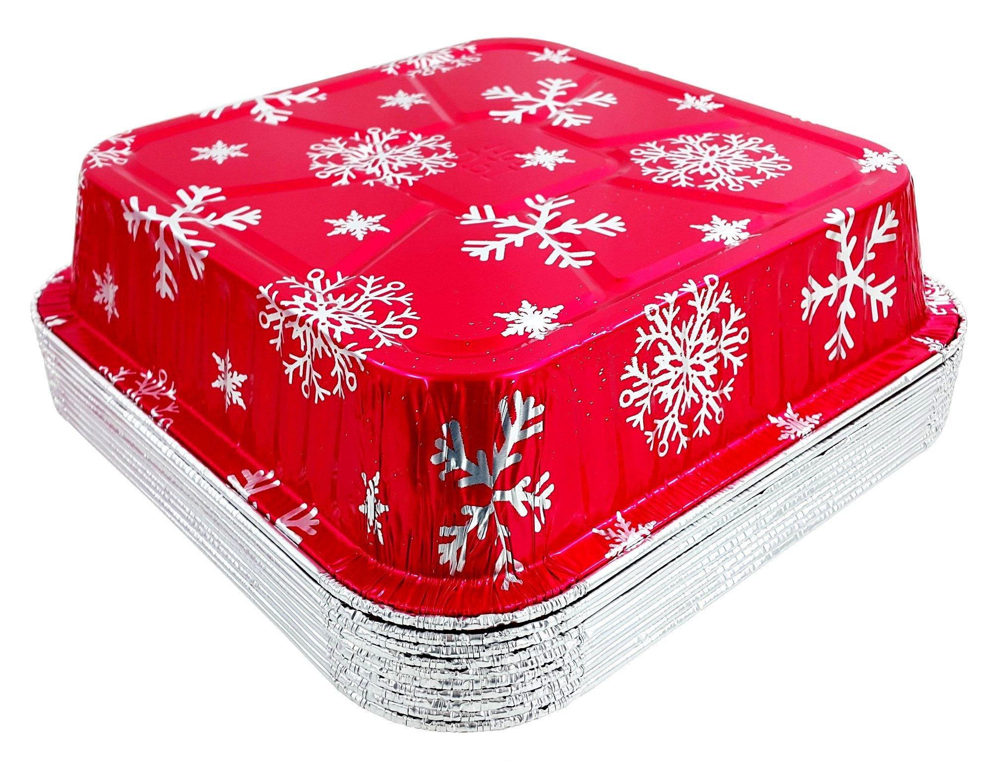 Pactogo Red Holiday Christmas Square Cake Aluminum Foil Pan w/Clear Dome Lid Disposable Baking Tins (Pack of 25 Sets) by PACTOGO (Image #8)