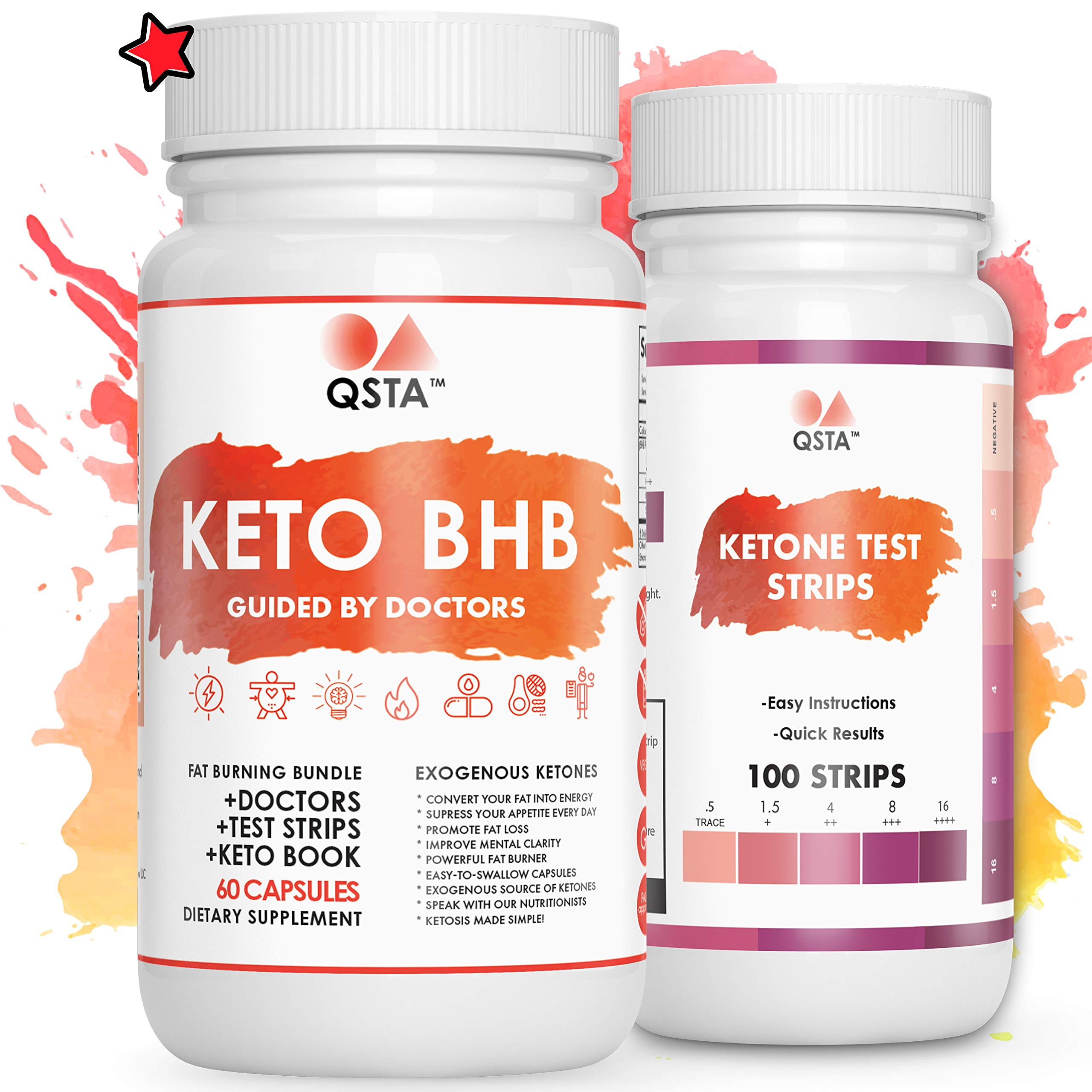 Keto BHB Pills + Test Strips Bundle | Pure Keto Diet Pills + Test Strips + Advanced Weight Loss eBook + Real Time Doctors | Shark Tank Evolution | Ketones Supplements | Made in USA | 975MG +Doctors