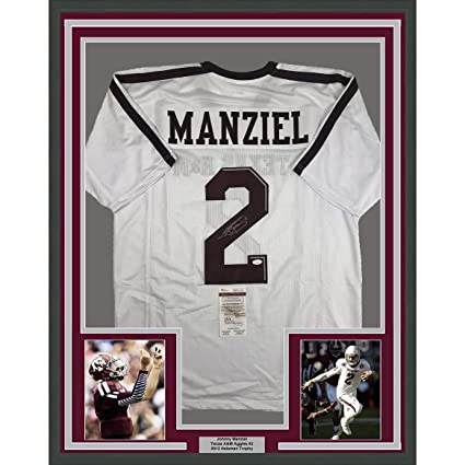 6ce871065ec Framed Autographed Signed Johnny Manziel 33x42 Texas A M White College  Football Jersey JSA COA at Amazon s Sports Collectibles Store
