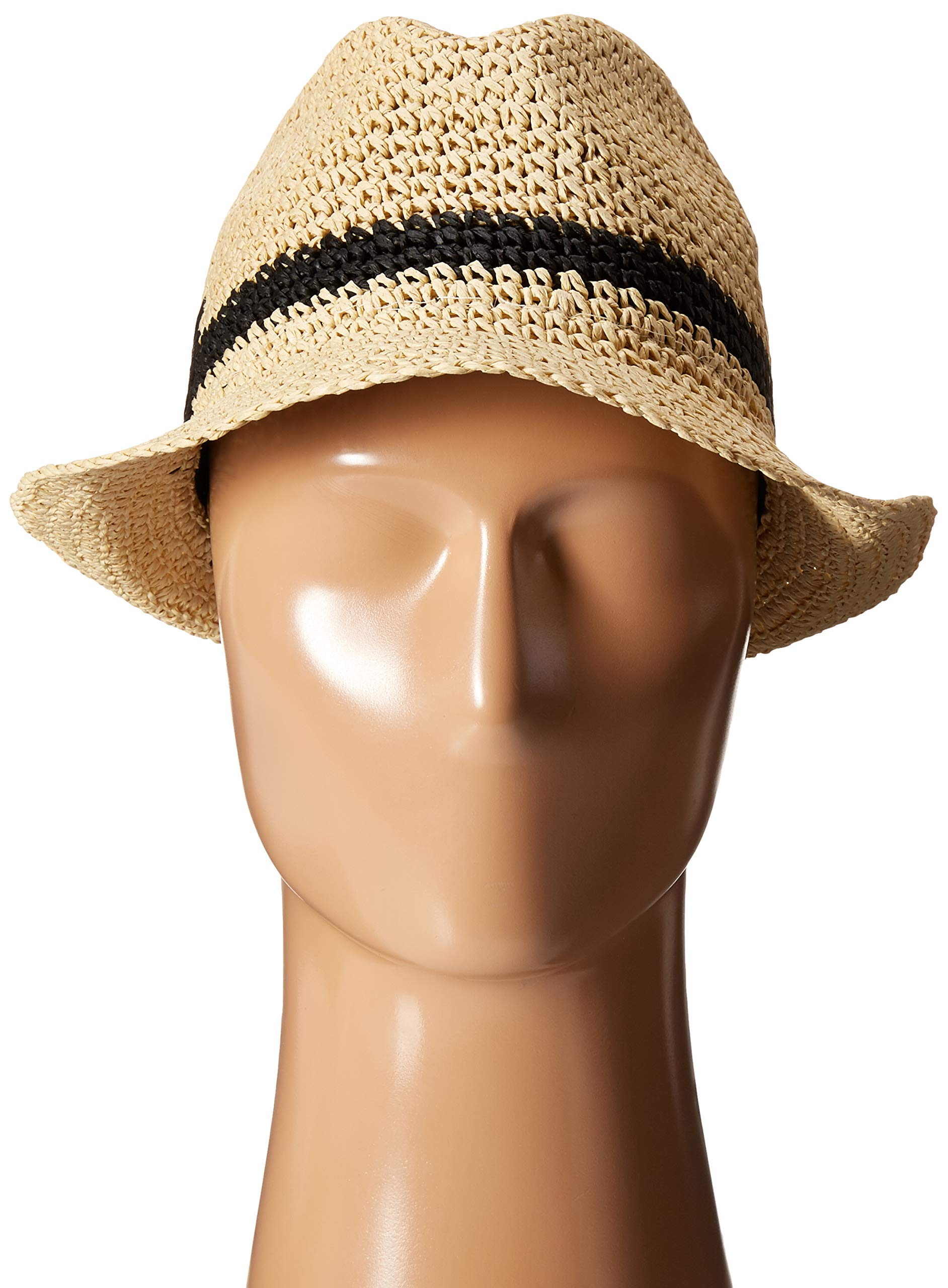 Kate Spade New York Women's Crochet Packable Fedora Natural/Black One Size by Kate Spade New York (Image #5)