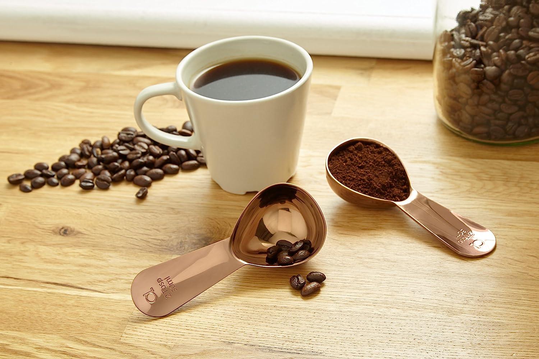 EL 2 Essl/öffel Kaffeelot 2er Set Kaffeedosierl/öffel aus Edelstahl von Apace Ros/égold, 2 Messl/öffel f/ür Kaffee Tee und mehr
