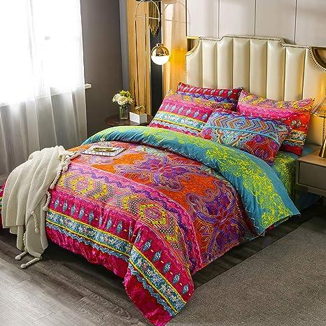 3-Piece Boho Bedding Bohemian Duvet Cover Set Brushed Cotton Quilt Cover
