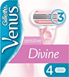 Gillette Venus Divine Sensitive Women's Blades Refills x4, With 3 Curve-Hugging Blades