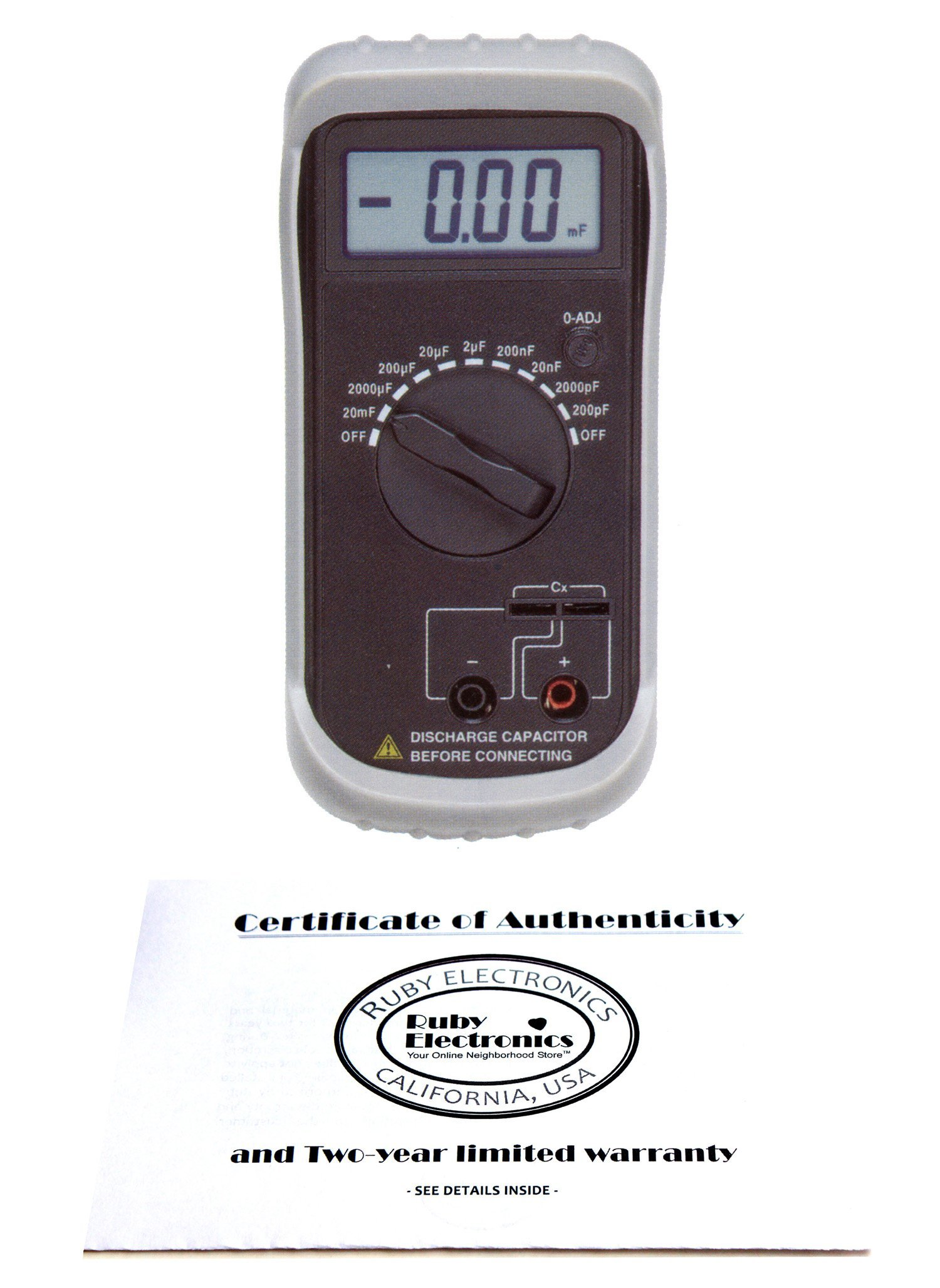 Ruby Electronics DT-6500 Professional Digital High Accuracy Capacitance Meter 0.1 pF to 20 mF