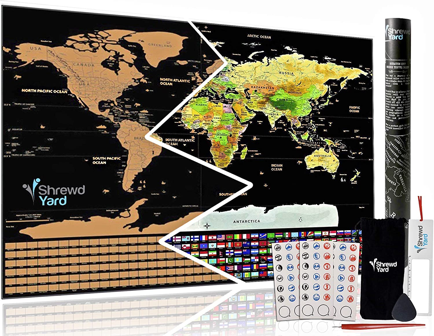 Large Scratch Off Travel Map of the world Poster by ShrewdYard - Scratchable country flags and USA states - keep track of the places you've visited around the globe - detailed borders, for travellers! Ltd. JX001001