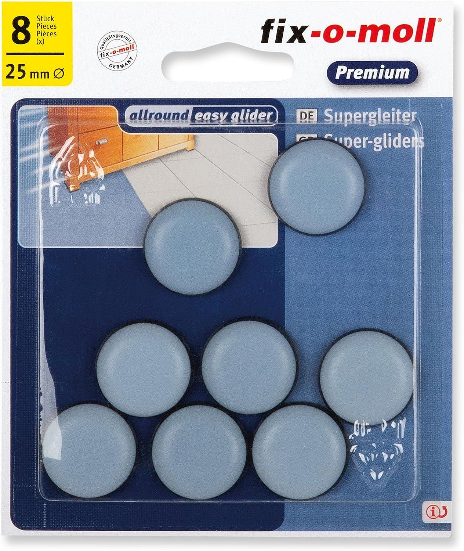 fix-o-moll 3566480 - Base deslizante para muebles (teflón, 25 mm, 8 unidades, autoadhesivo), color gris