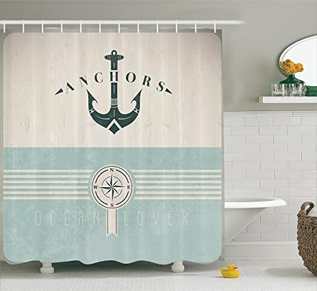 Artsy Shower Curtain Ocean Decor By YOUHOME Nautical Anchor Sailor Sea Directions Antiqued Theme Like