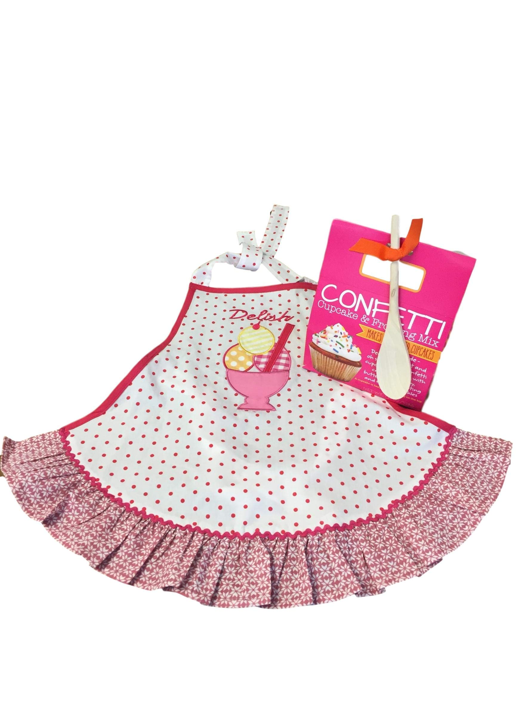 Baking Bundle with Girl's 'Delish' Apron and Confetti Cupcake & Frosting Kit