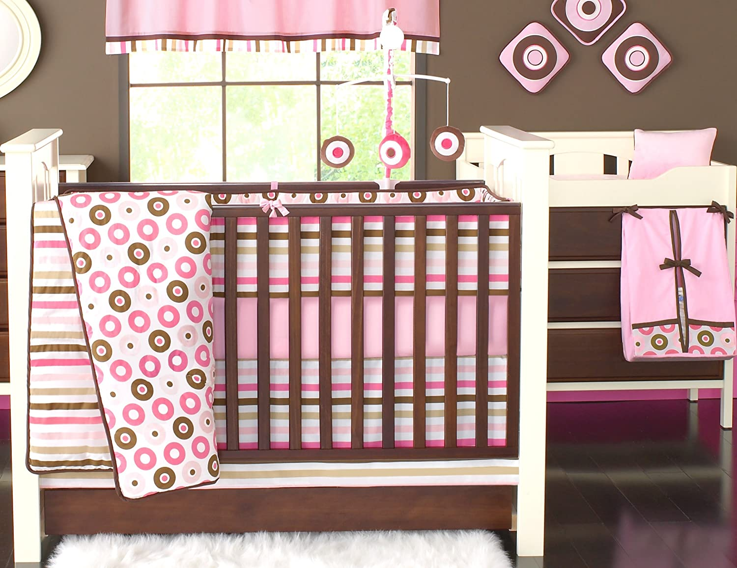 Bacati Crib Fitted Sheets Mod Stripes Pink//Chocolate Pack of 2