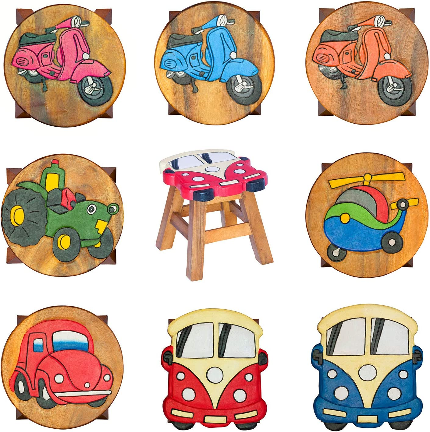 Footrest Handmade to last for years to choose from plant or table lamp support WID Home and Garden Children/'s Solid Wooden Red Car stool Hand Painted in Thailand.