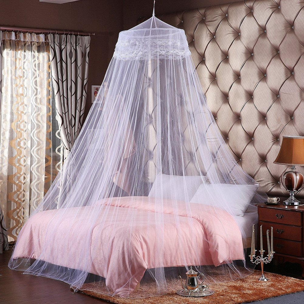Proumhang Elegant Princess Mosquito Net Bed Canopy Solid Color Round Dome Design Net Beds, Fit for Crib Twin Full Queen Bed (White) J0338