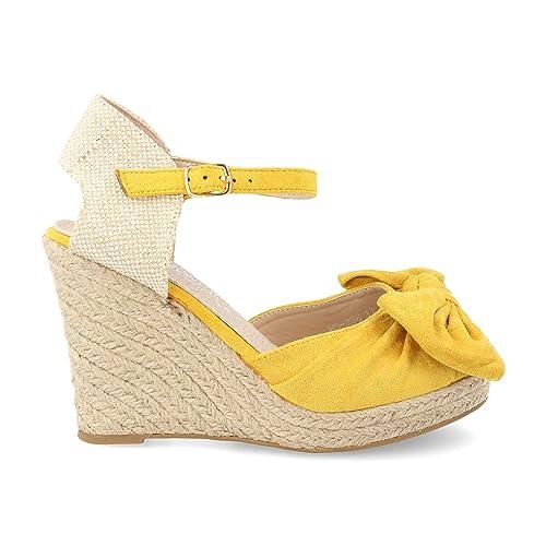 7321411135d Sandalia Mujer de Esparto Cuna Plataforma de Yute con Cierre de Pulsera y  Lazo Primavera veranos 2019: Amazon.es: Zapatos y complementos