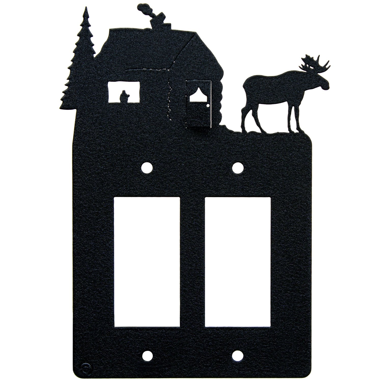 Innovative Fabricators, Inc. Moose & Cabin Double 2-Gang Rocker Light Switch - GFCI Power Outlet - Plate-Cover