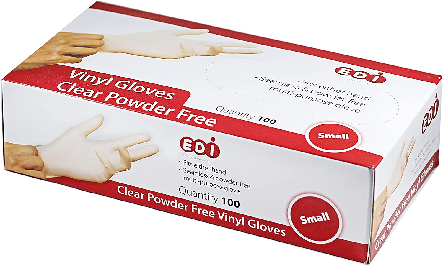 EDI Clear Powder Free Vinyl Glove,Disposable Glove,Industrial Glove,Clear, Latex Free and Allergy Free, Plastic, Work, Food Service, Cleaning,100 Gloves per Box (100, Small)