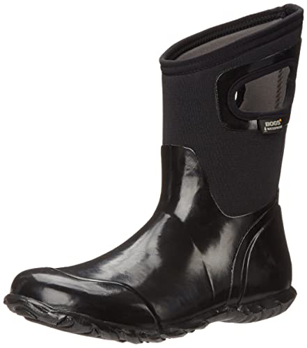 Bogs Women's North Hampton Solid Mid Rain Boot, Black, ...
