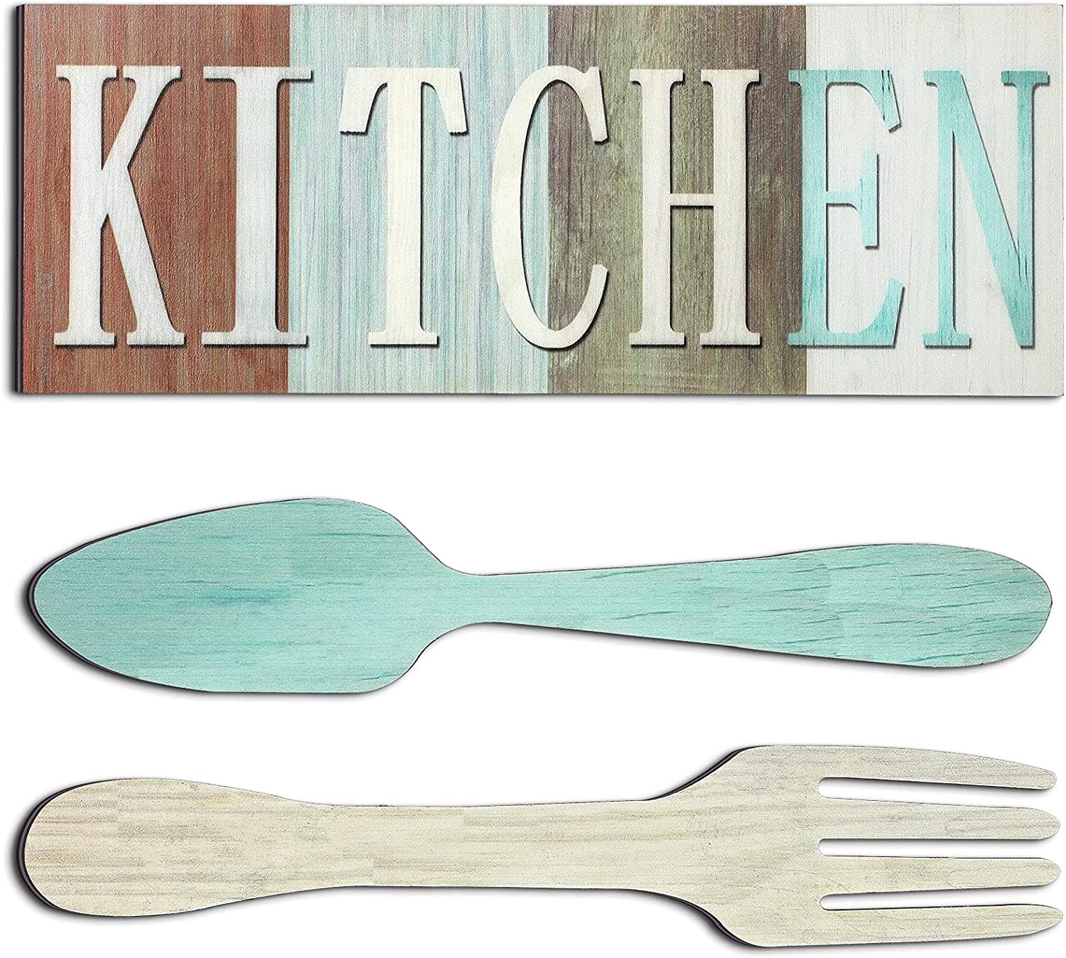 Kitchen Sign Set, Fork and Spoon Wall Decor Kitchen The Heart of The Home Sign Wood Rustic Kitchen Decoration Farmhouse Kitchen Wall Decor for Home Dining Room Housewarming Kitchen Decor (Mixed Color)