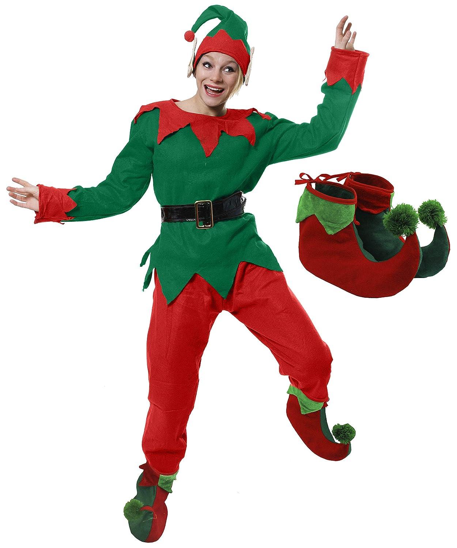 ILOVEFANCYDRESS Déguisement Femme 5 pièces d'Elfe avec Une Veste + Un Pantalon + Une Ceinture + Un Bonnet à Oreilles + des Chaussures pour Adulte. Ideal pour Les fêtes de Noël. ( XSmall )