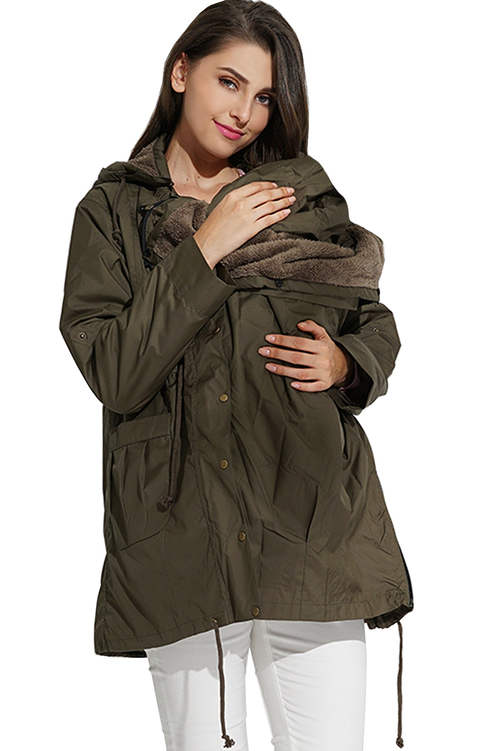 Sweet Mommy Multifunctional Mod's Style Mama Coat with a Baby Pouch Khaki, M by Sweet Mommy