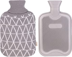 HomeTop Classic Rubber Hot Water Bottle w/Classic Yarn Knit Diamond Check Cover (2 Liter) (Gray)