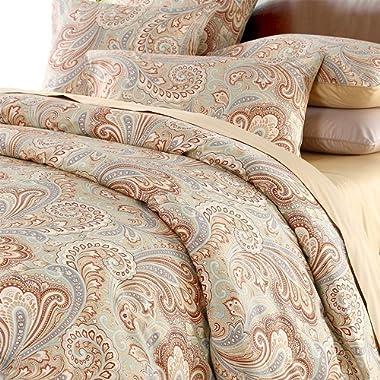 Duvet Cover Set Paisley Bedding Design 800 Thread Count 100% Cotton 3Pcs ,Queen Size,Khaki