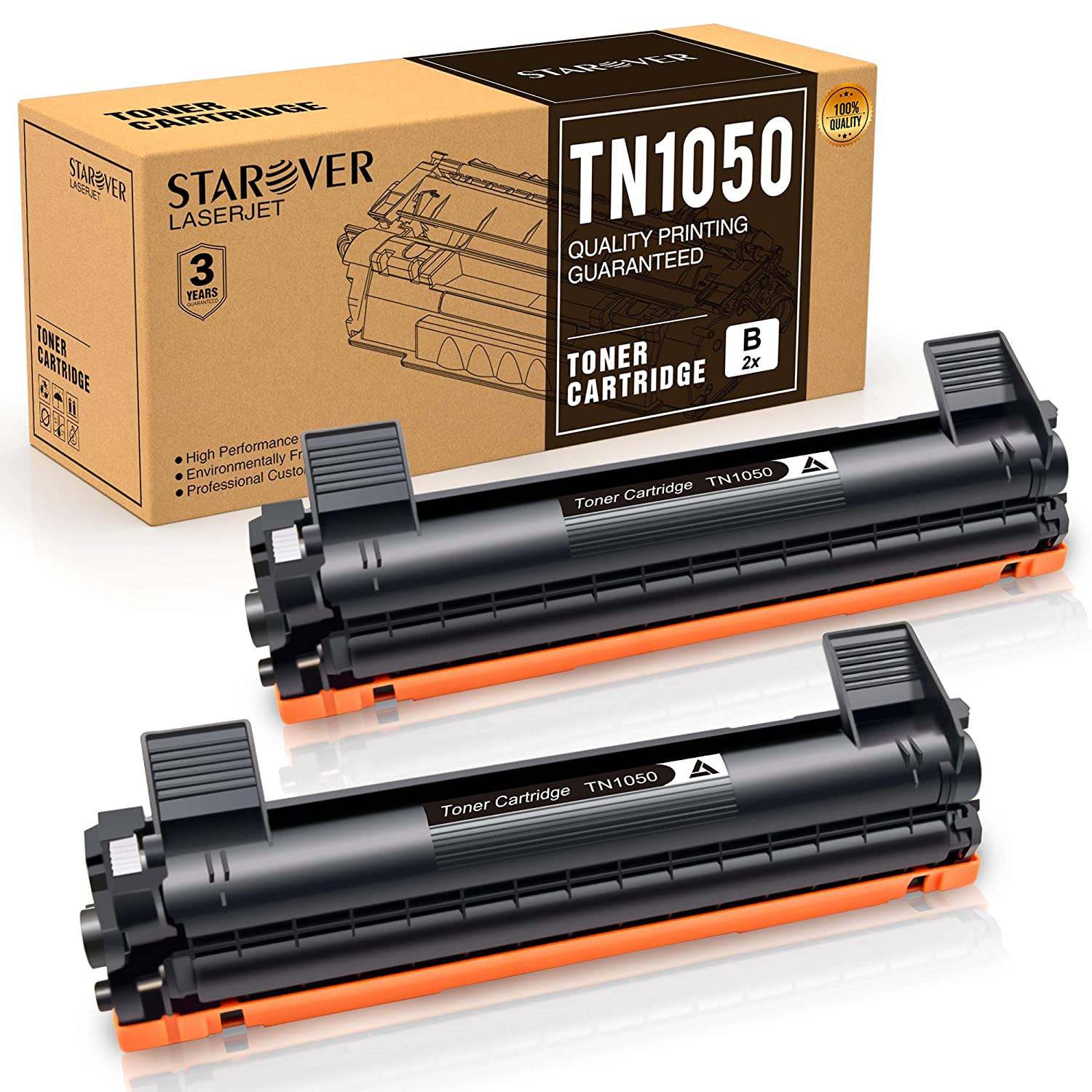 STAROVER 2x TN1050 TN-1050 Cartucho De Tóner Negro Compatible Para Brother HL-1110 DCP-1510 HL-1210W DCP-1610W HL-1112 MFC-1810 HL-1212W MFC-1910W DCP-1612W ...