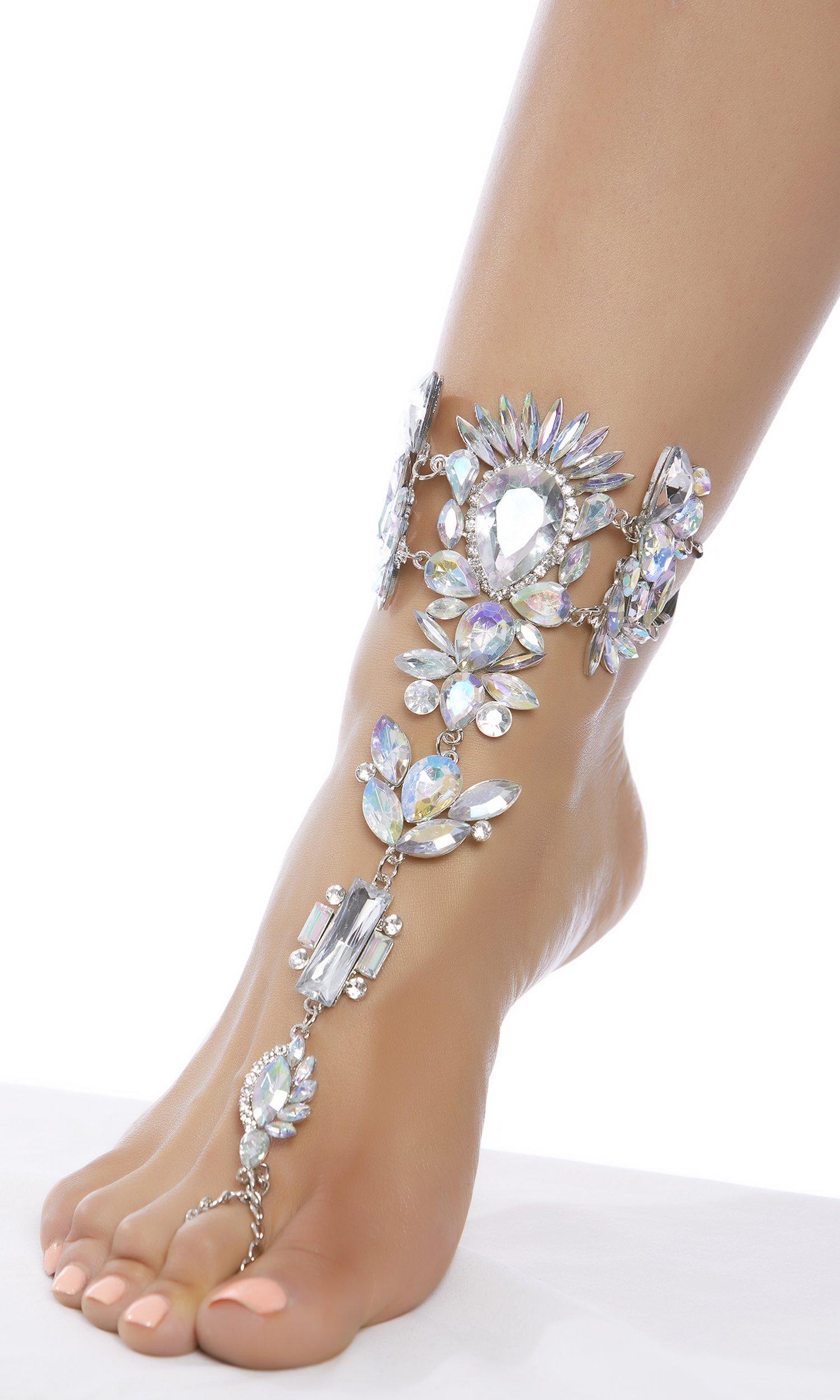 Forplay Women's Chunky Rhinestone Foot Jewelry, Silver, O/S