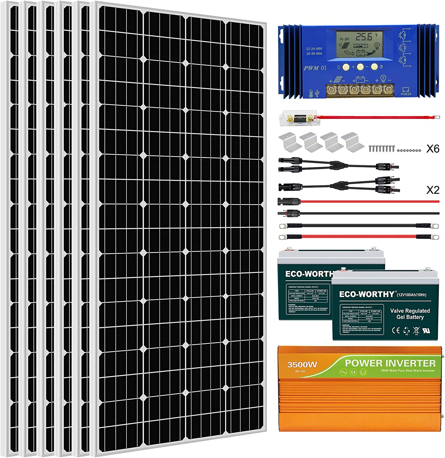 Eco-Worthy 1KW Kit with Battery and Inverter