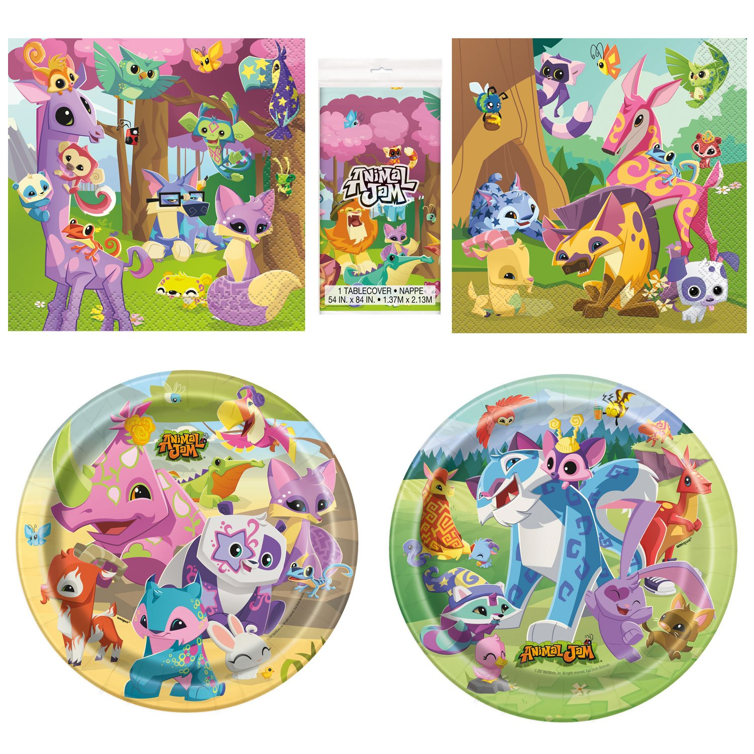 Unique Animal Jam Party Bundle | Luncheon & Beverage Napkins, Dinner & Dessert Plates, Table Cover | Great for Zoo/Safari/Forest Birthday Themed Parties