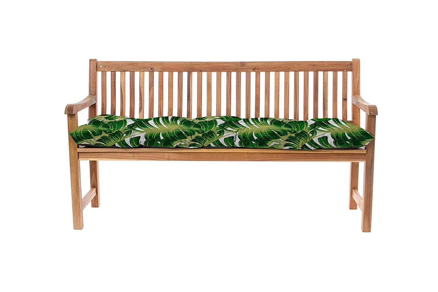 Gardenista Outdoor Garden 2 Seater Bench Cushion 110x45x7cm in Water Resistant Fabric (Palm). Made in the UK. Tufted Cushions Collection