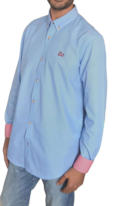 TALLA M. Ridebike Camisa Azul con Fino Estampado Vespa | Diseño de los Puños a Juego con el Cuello (1751)