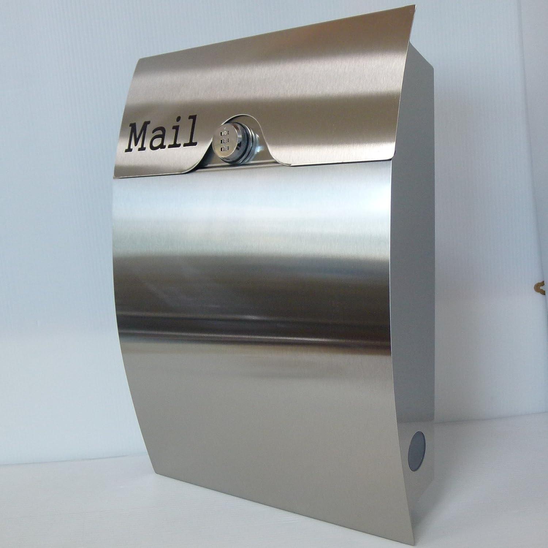 郵便ポスト北欧風メールボックス壁掛けダイヤル錠付きプレミアムステンレスシルバーステンレス色ポストpm161 B01N51WR1I 10880