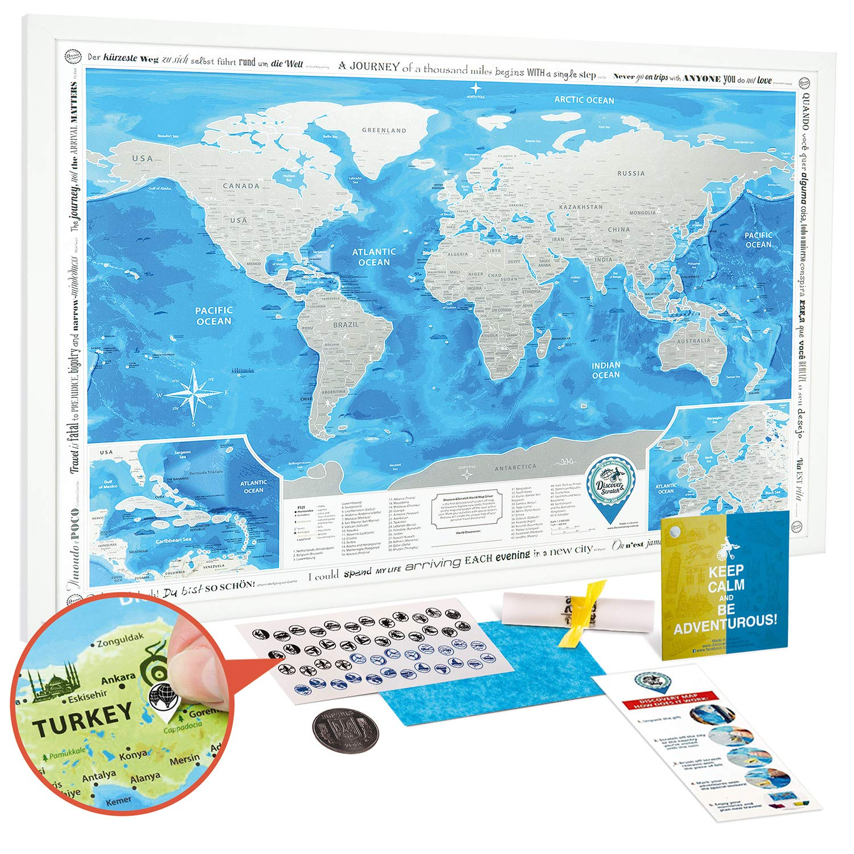Large Scratch Off World Map.Amazon Com Scratch Off World Map Framed Premium Detailed World