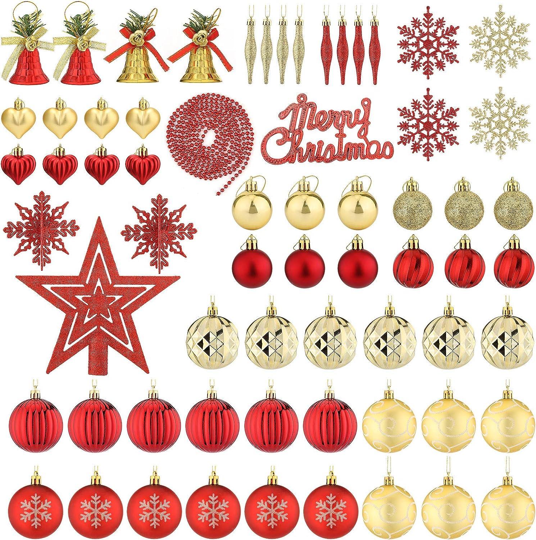 Aitsite 65PCS Bolas de Navidad 4/6 cm Bolas de árbol de Navidad Adorno de Pared Colgante de Pared Adornos Decoraciones Árbol Bolas Decorativas Boda de Fiesta Hogar Decoraciones para Festivales