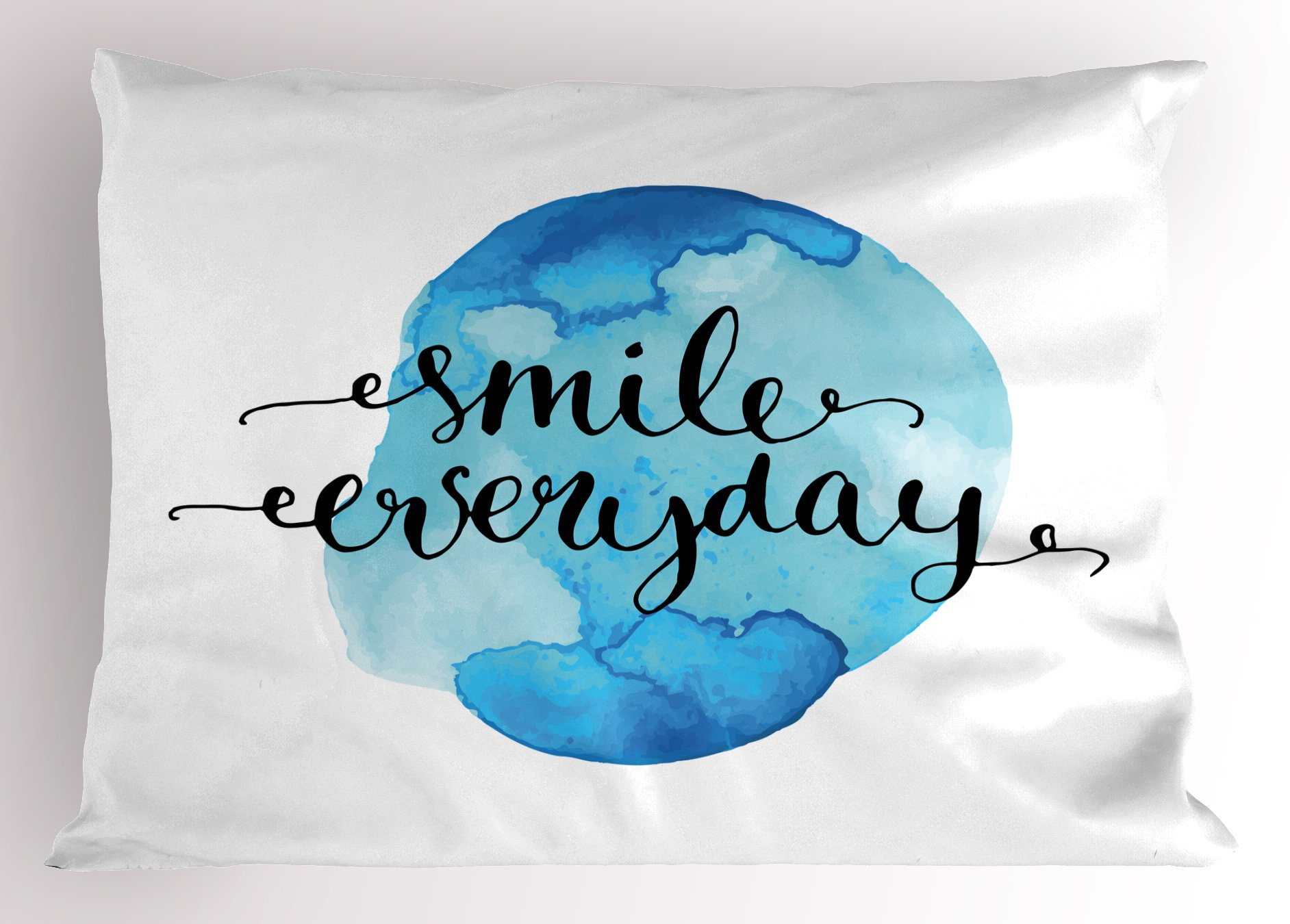 Lunarable Quote Pillow Sham, Inspirational Smile Everyday Lettering with Watercolor Paint Stain Backdrop, Decorative Standard King Size Printed Pillowcase, 36 X 20 inches, Blue Pale Blue Black