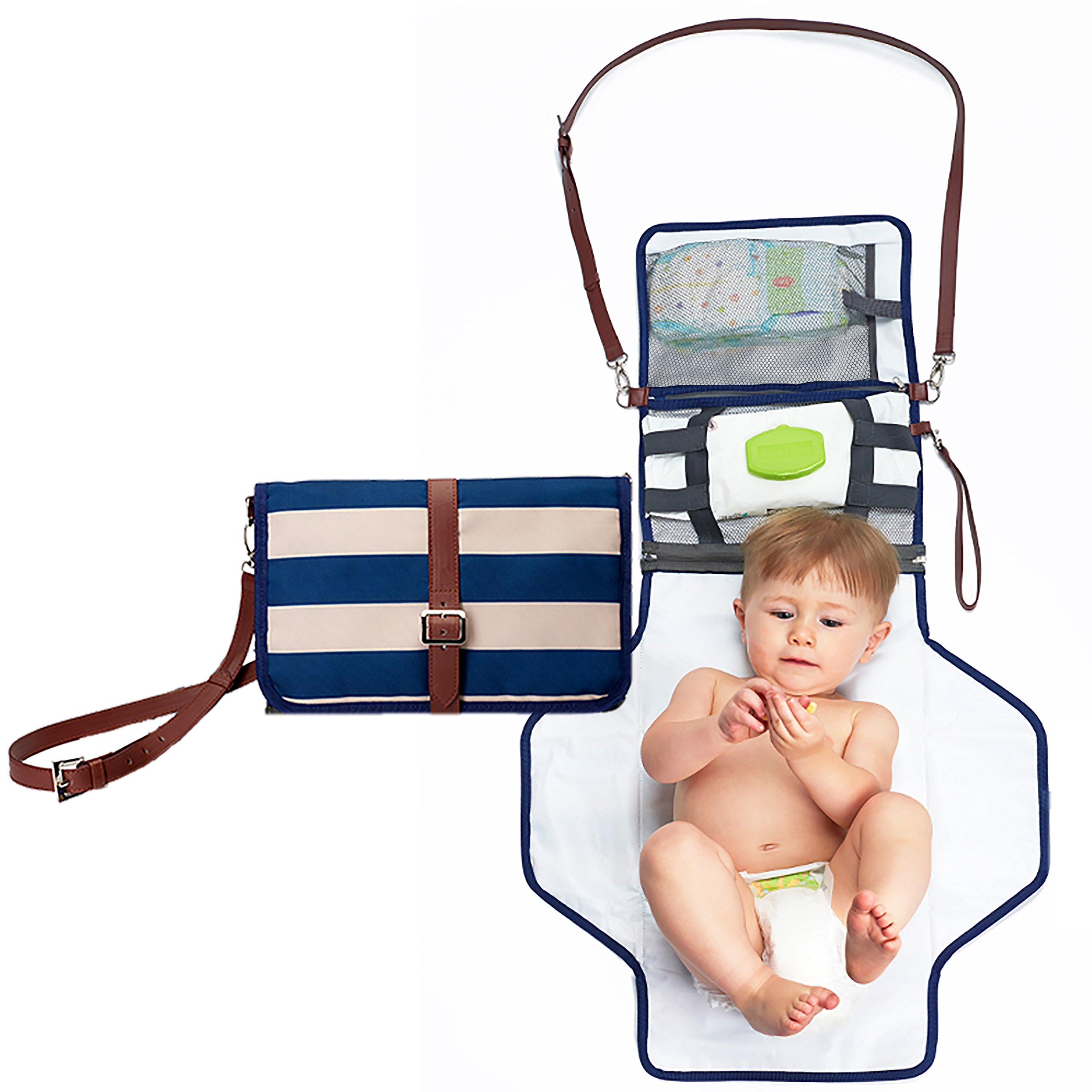 Portable Changing Pad Diaper Clutch - Small Diaper Bag Purse w/Shoulder Strap | Changing Station w/Extra Storage for Diapers, Wipes Holder, Essentials, and a Baby Outfit | Waterproof, BPA Free