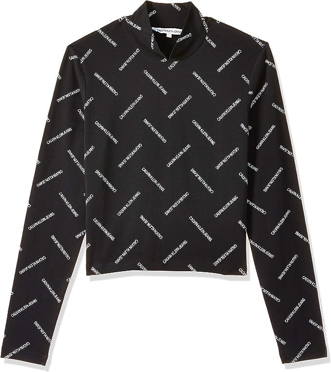 Calvin Klein Diagonal Logo LS Mock Neck tee Camisa para Mujer: Amazon.es: Ropa y accesorios