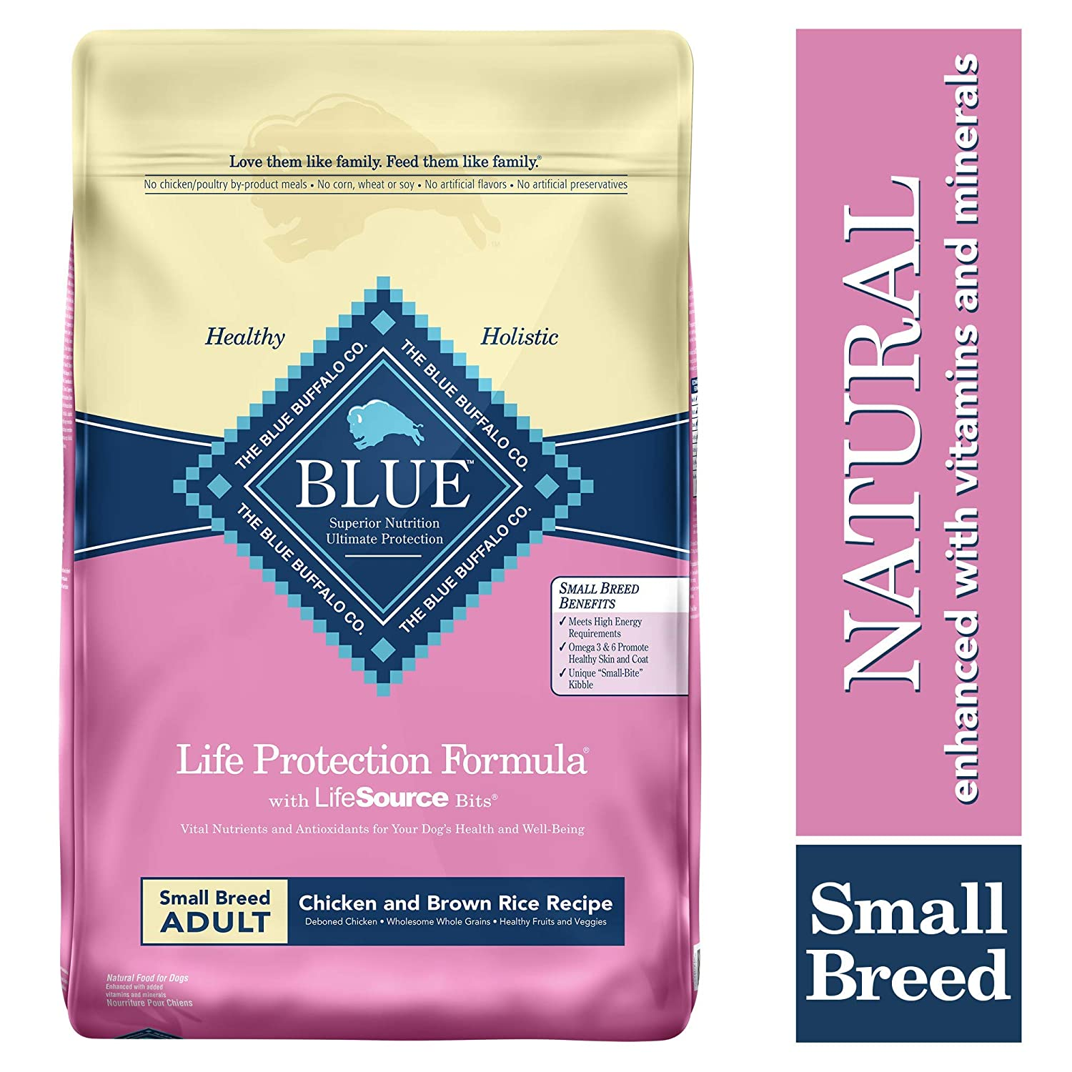 Blue Buffalo Life Protection Formula Small Breed Dog Food Natural Dry Dog Food for Adult Dogs Chicken and Brown Rice 15 lb. Bag