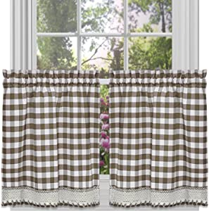 "Achim Home Furnishings Tier Pair Buffalo Check Window Curtain, 58"" x 24"", Taupe & Ivory"