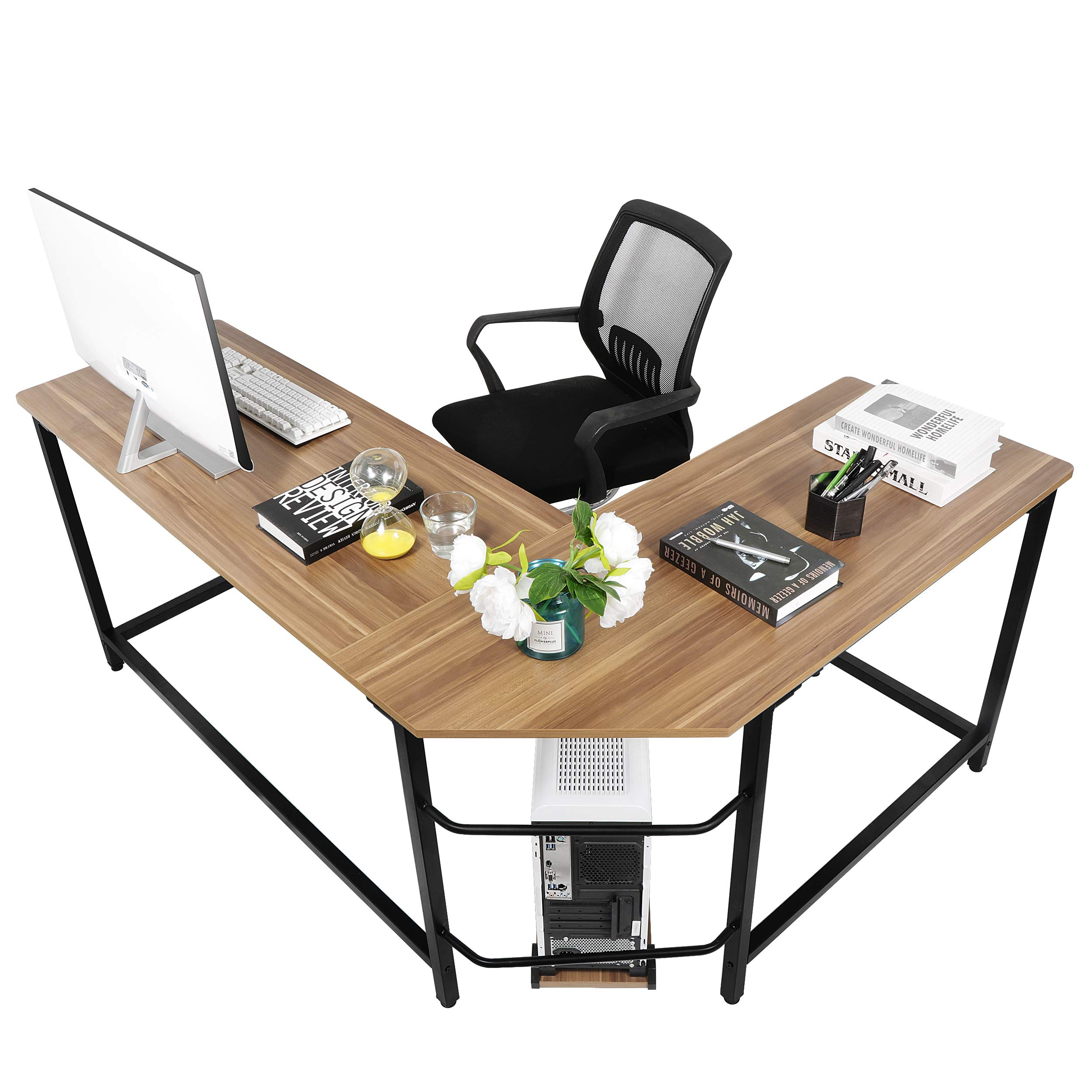 SUPER DEAL Large L-Shape Corner Computer Desk PC Study Table Workstation w/ with Monitor Printer Shelf, Foot Rest Bar For Home Office, Anti Scratch Wood & Solid Metal by SUPER DEAL