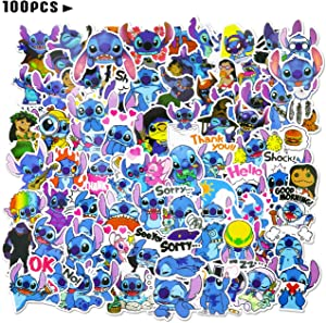 100pcs Stitc_h Stickers Disne_y Cartoon Vinyl Water Bottle Skateboard Guitar Stickers Waterproof for Kids Teens Adults Luggage Laptop Decal Stickers