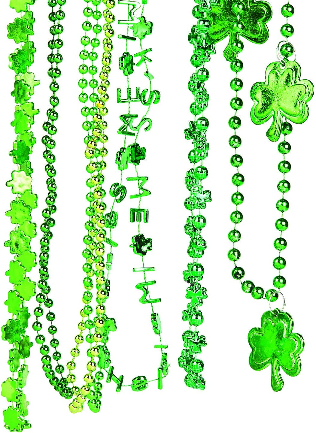 Bulk Pack of 72 St Costume Accessory Supplies Great for Party Favor Necklaces By 4E/'s Novelty Patricks Day Colorful Shamrock Beads Necklace ASSORTMENT Shamrock and Green Beads 33 Long 7mm Thick