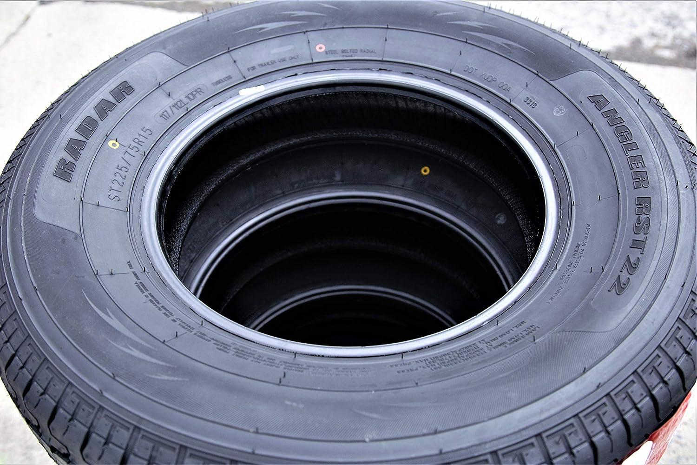 Set of 4 10 Ply ST225//75R15 117//112L E Radar Angler RST22 Steel Belted Radial Trailer Tires FOUR