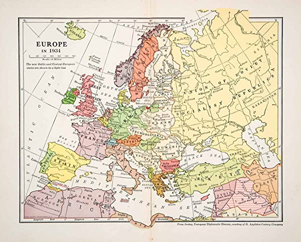 1935 Print Map Europe Baltic Iceland Atlantic Ocean France Spain Great  Britain   Relief Line